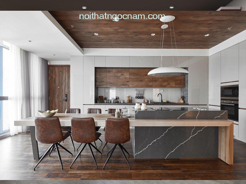 Mẫu tủ bếp lamiante + acrylic có bàn đảo độc lập hiện đại