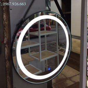 gương tròn dây da có đèn led