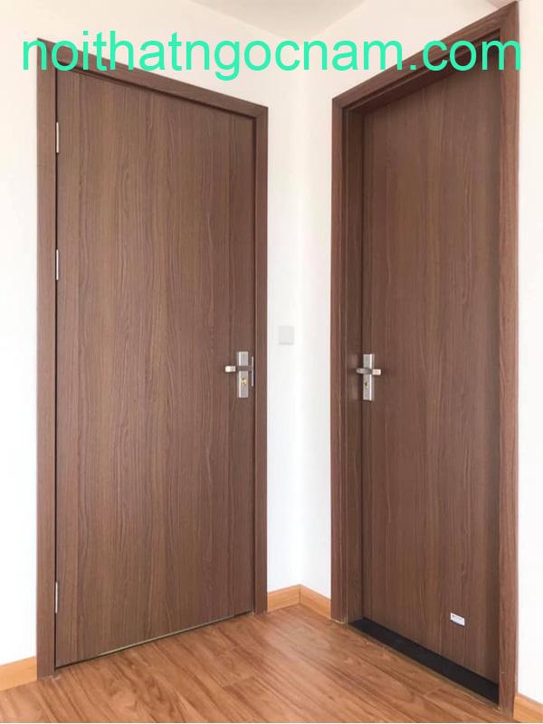 Mẫu cửa gỗ nhựa được thiết kế phẳng trơn đơn giản