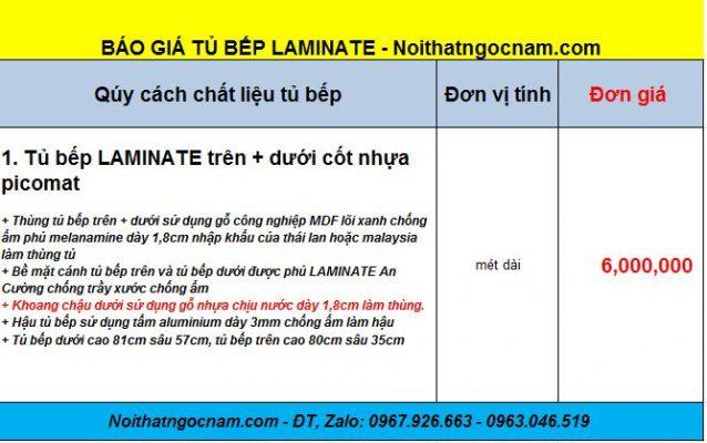 Tủ bếp laminatetại Hà Nội với đơn giá là 4tr500/ 1 mét dài
