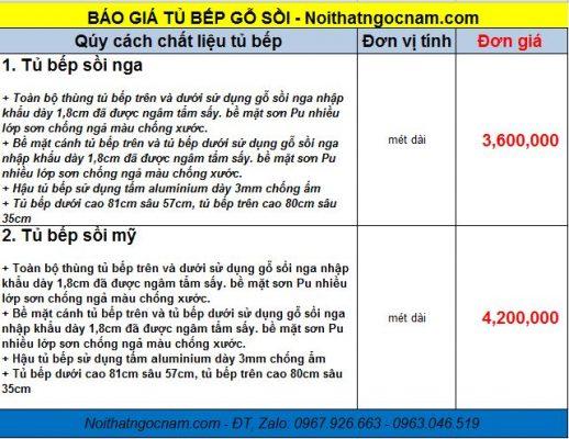 Bảng báo giá tủ bếp gỗ sồi Nga tự nhiên giá rẻ tại Hà Nội với đơn giá là 3tr600/ 1 mét dài