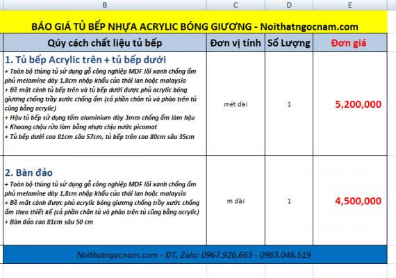 Bảng báo giá tủ bếp acrylic bóng giương cao cấp tại Hà Nội với đơn giá 5tr200/ 1 mét dài