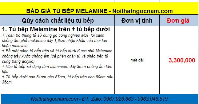Tủ bếp melamine giá rẻ tại Hà Nội với đơn giá là 3tr300/ 1 mét dài