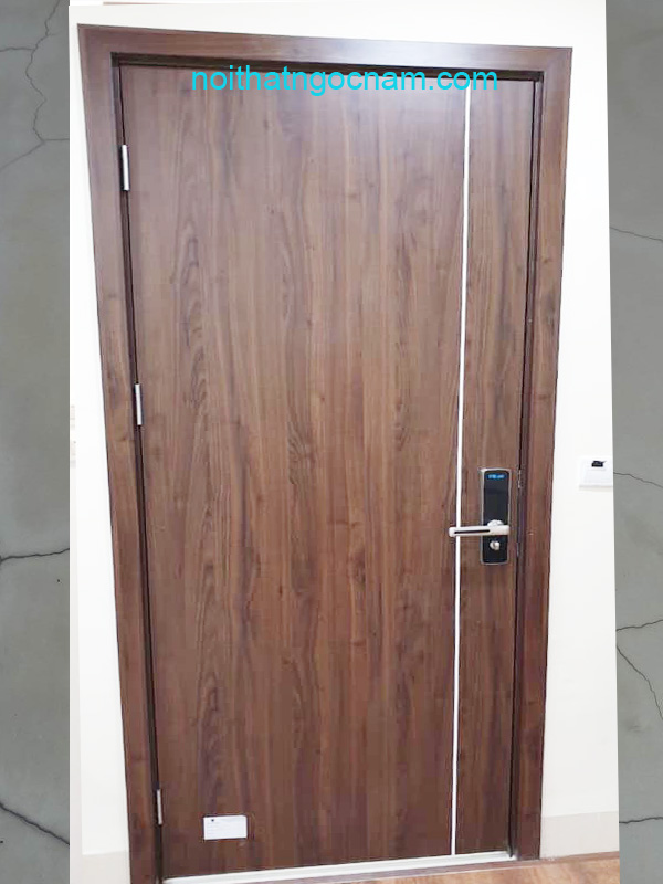 Mẫu cửa gỗ nhựa thêm nẹp chỉ nghệ thuật hiện đại