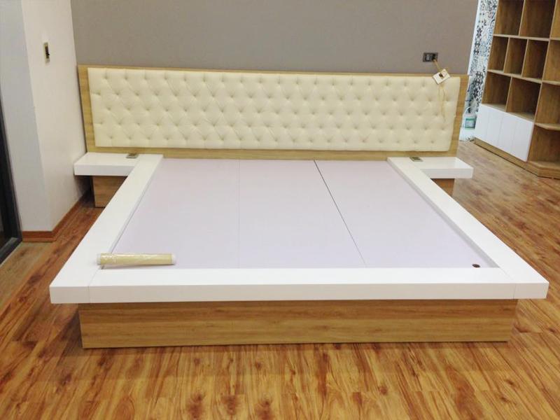 giường ngủ gỗ công nghiệp bọc đệm đầu giường