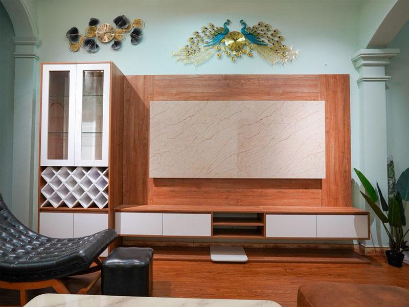 Nội thất phòng khách chung cư gỗ công nghiệp