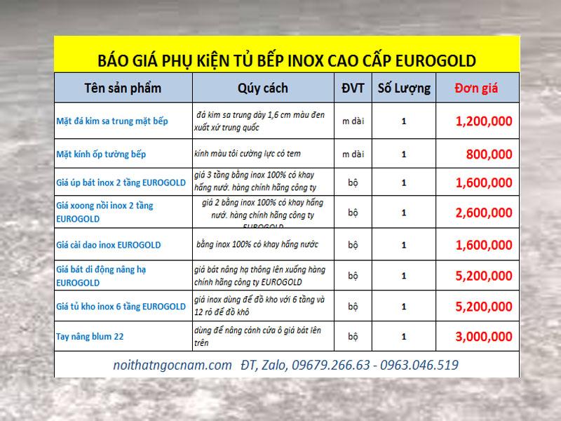 Danh sách báo giá một số phụ kiện tủ bếp cao cấp khác cần thiết trong quá trình lắp đặt tủ bếp như sau: