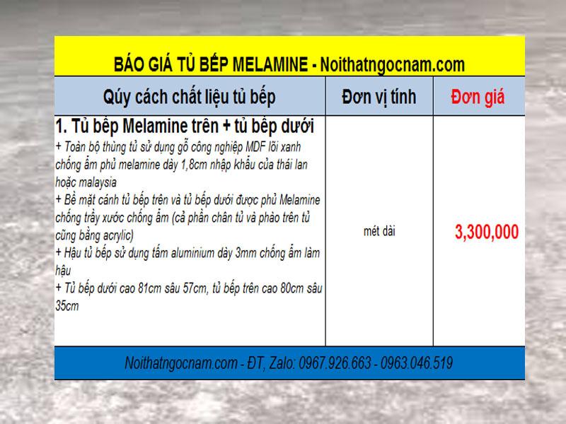 Bảng báo giá mẫu tủ bếp Melamine Hà Nội giá rẻ nhất hiện này trên thị trường