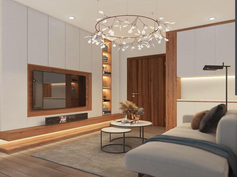 Thiết kế thi công nội thất phòng khách gỗ công nghiệp