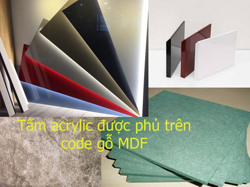 Tấm bề mặt acrylic được phủ trên code gỗ MDF Lõi xanh chống ẩm với màu sắc đa dạng phong phú