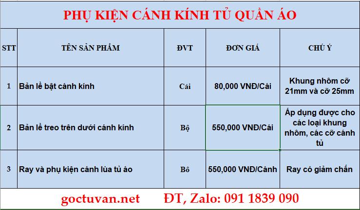 Bảng báo giá phụ kiện cánh kính tủ quần áo tại Hà Nội đầy đủ chi tiết nhất
