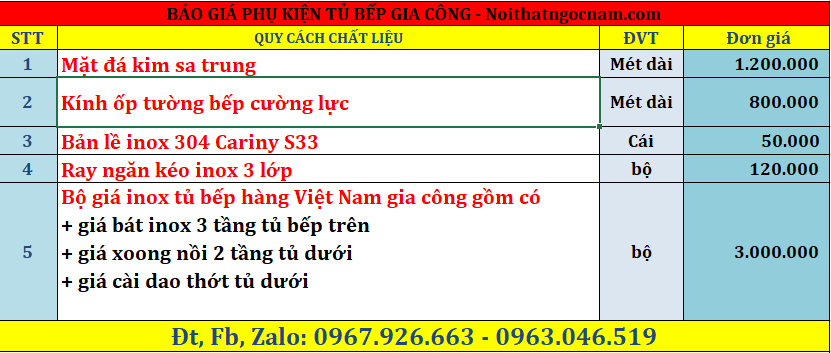 Báo giá phụ kiện tủ bếp hàng inox gia công tại Hà Đông