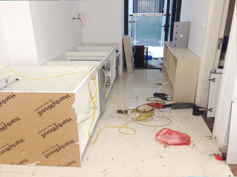 Thùng tủ bếp được làm bằng nhựa chống nước