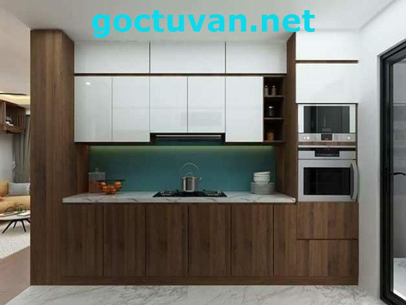 Mẫu thiết kế tủ bếp melamine cao kịch trần nhà phù hợp với chung cư