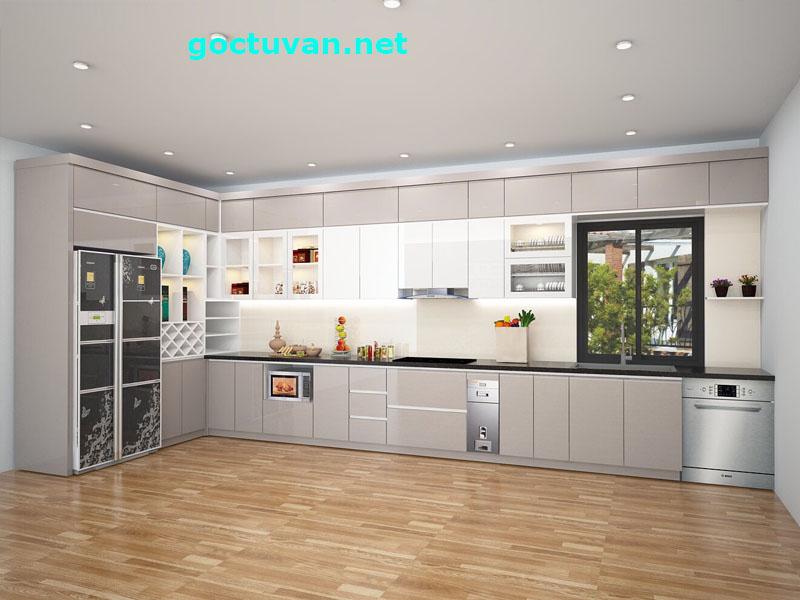 Mẫu tủ bếp đẹp Long Biên được làm bằng Acrylic bong gương