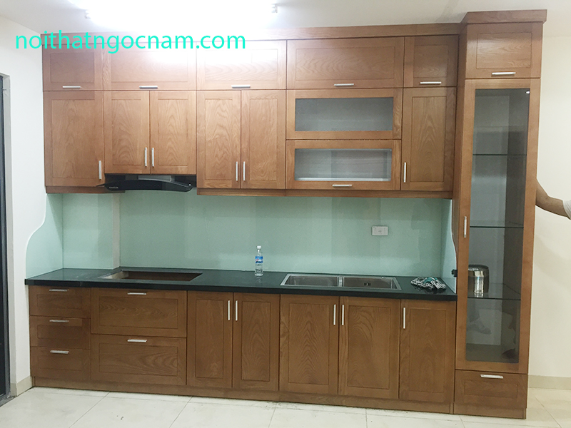 Nội thất ngọc nam nhận thiết kế thi công tủ bếp gỗ tự nhiên giá rẻ