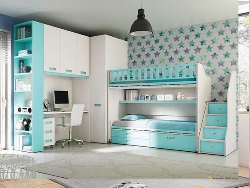 Mẫu giường tầng được làm bằng gỗ công nghiệp với những gam màu trung tính phù hợp với mức giá rẻ với thu nhập của nhiều người