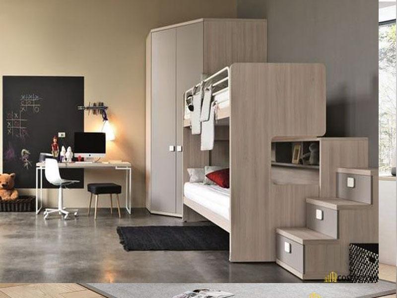Mẫu giường tầng được làm bằng gỗ công nghiệp với những gam màu trung tính phù hợp với nhiều người