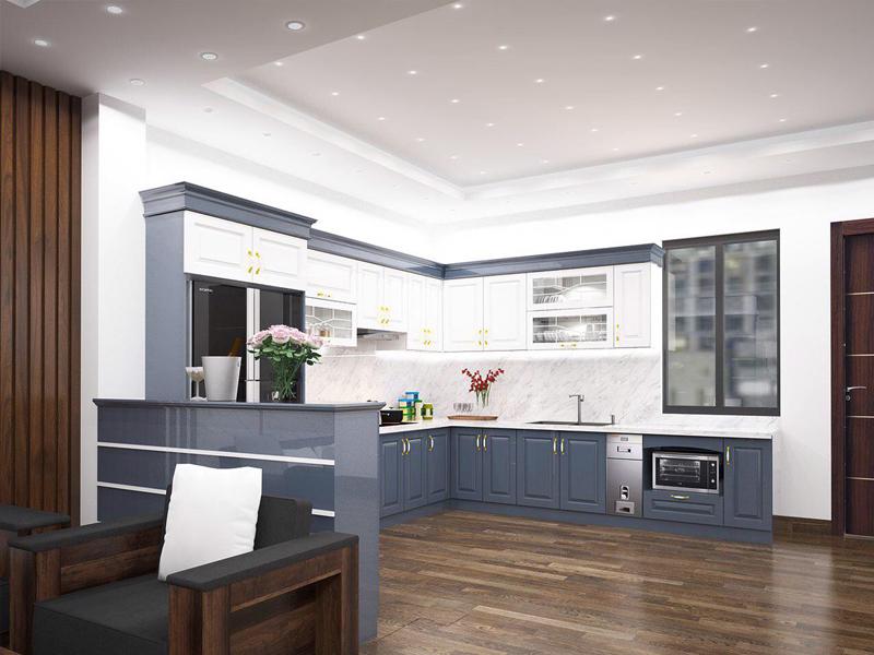 Mẫu thiết kế tủ bếp tân cổ điển được thiết kế tối giản đơn giản nhưng không kém phần đẹp sang trọng