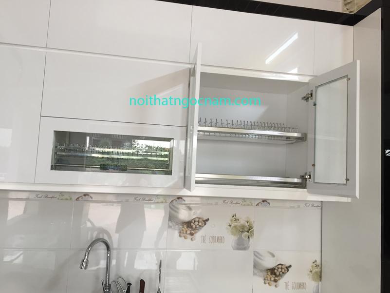 Phụ kiện tủ bếp inox giá bát nâng hạ lên xuống kết hợp giá bát cố định tủ bếp trên