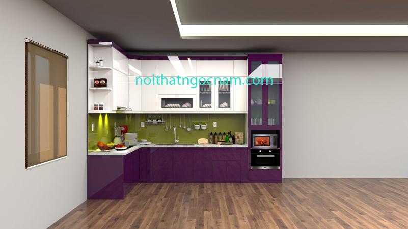Tủ bếp nhựa Acrylic bóng gương cao cấp được thiết kế màu tím ánh kim và màu trắng hiện đại