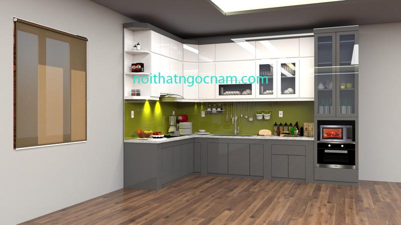 Tủ bếp nhựa Acrylic bóng gương cao cấp được thiết kế màu ghi và màu trắng hiện đại