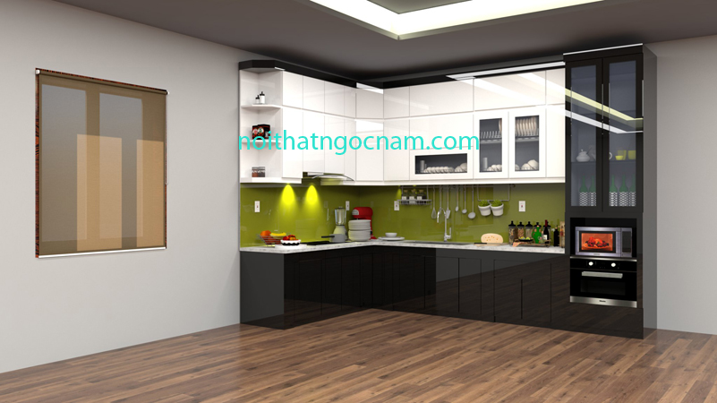 Tủ bếp nhựa Acrylic bóng gương cao cấp được thiết kế màu đen và màu trắng hiện đại
