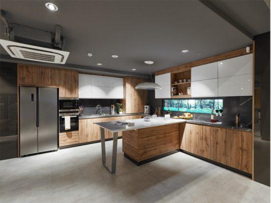 Mâu thiết kế tủ bếp sử dụng gỗ công nghiệp plywood bề mặt cánh có thể phủ melamine hoặc hoặc acrylic